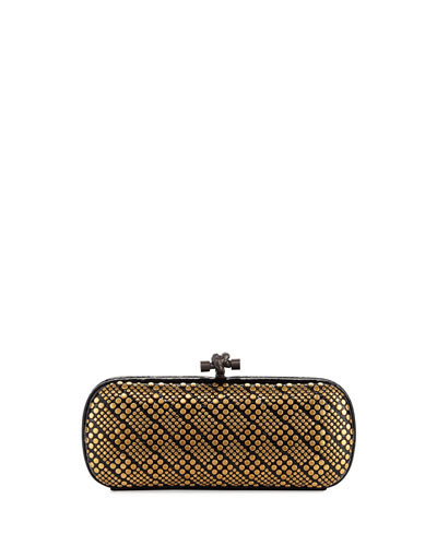 Knot Studded Snakeskin Clutch Bag