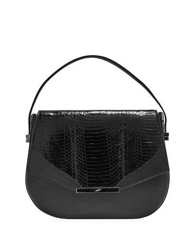 Dee Dee Mini Snakeskin Top-Handle Bag, Black