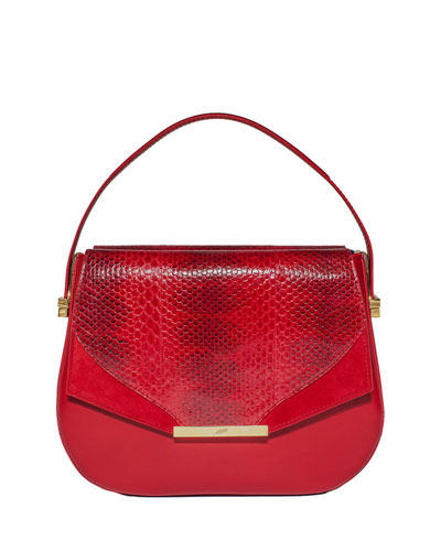 Dee Dee Mini Snakeskin Top-Handle Bag, Red