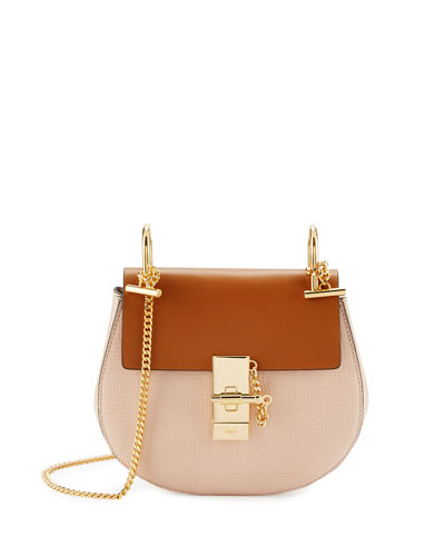 Drew Mini Colorblock Shoulder Bag, Beige/Mustard