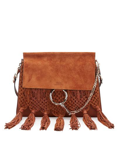 Faye Medium Macrame Shoulder Bag, Caramel