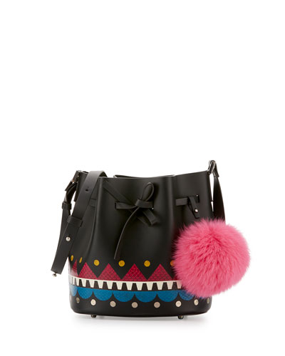 Daliah Fur Pompom Bucket Bag, Black/Multi