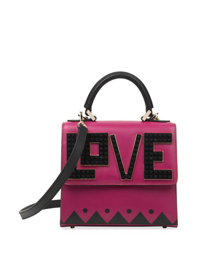 Alex Mini Black Widow Leather Satchel Bag, Fuchsia/Black
