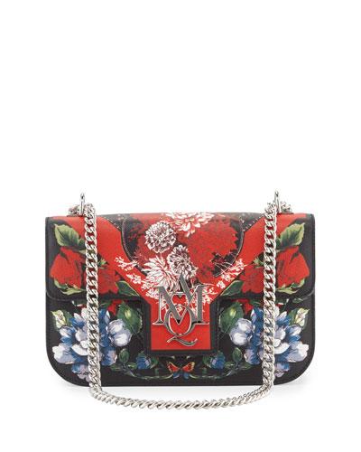 Floral-Print Chain Satchel Bag, Multi