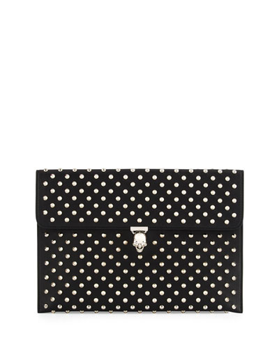 Studded Leather Skull Envelope Clutch, Black