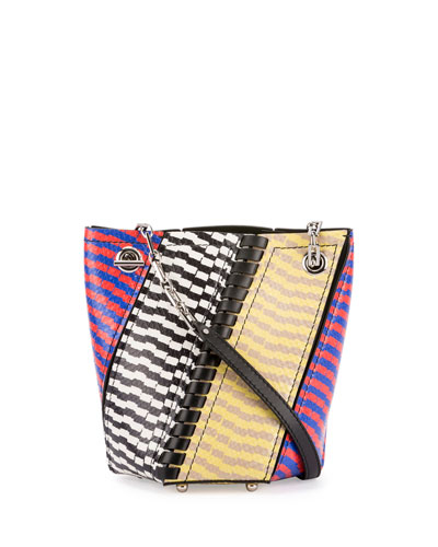 Crossbody Hex Colorblock Snakeskin Bucket Bag, Multicolor