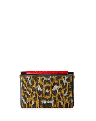 Vanite Sequined Leopard-Print Clutch Bag, Gold/Black/Silver