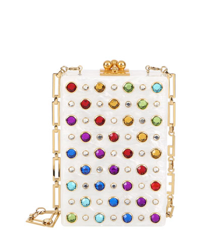 Carol Rainbow Stud Clutch Bag, White/Rainbow