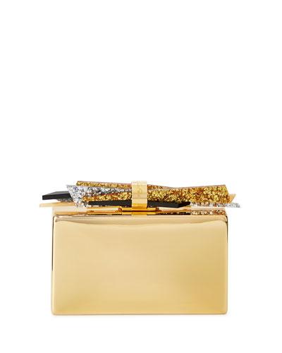 Wolf Shard Metal Clutch Bag, Golden