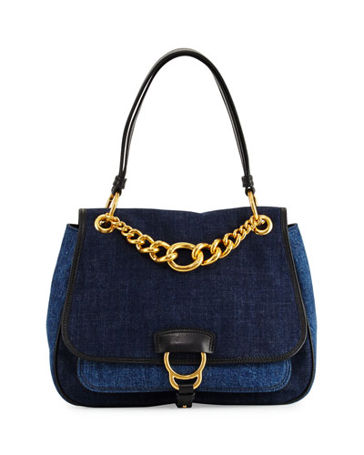 Dahlia Denim Chain Top-Handle Bag, Blue