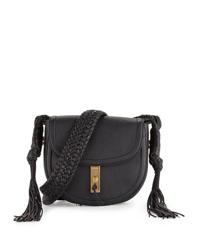 Ghianda Leather Saddle Bag, Black