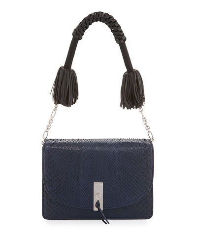 Ghianda Python Shoulder Bag, Navy