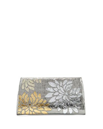 Slicer Metallic Crocodile Flower Clutch Bag, Anthracite