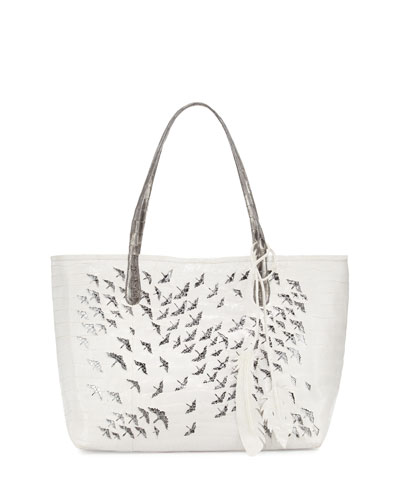 Painted Cranes Crocodile Tote Bag, White