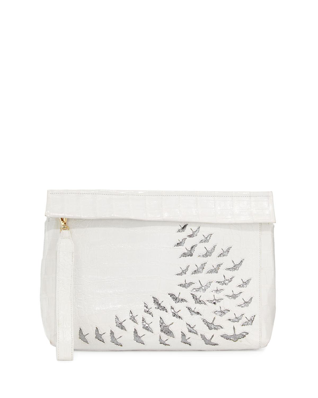 Painted Cranes Crocodile Wristlet Bag, White