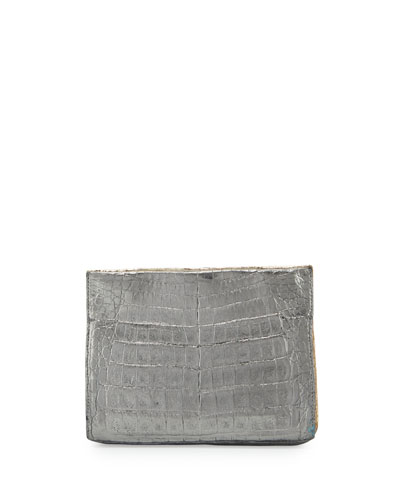 Mini Square Crocodile Clutch Bag, Gold/Anthracite