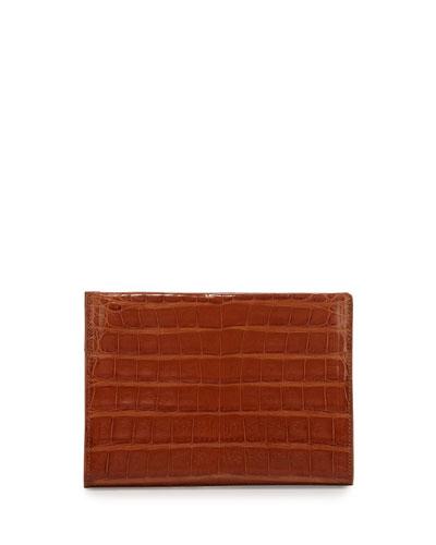 Mini Square Crocodile Clutch Bag, Cognac