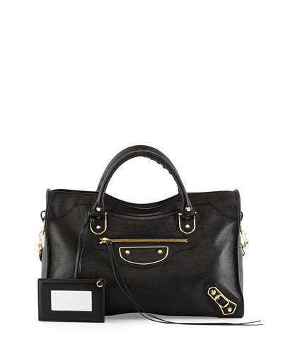 Metallic Edge Golden City Bag, Black