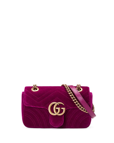 GG Marmont 2.0 Mini Quilted Velvet Crossbody Bag, Dark Fuchsia