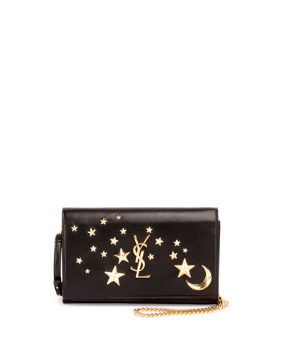 Monogram Flap Moon & Stars Wallet-on-Chain, Black