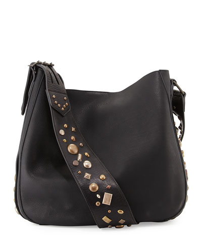 Studded Leather Crossbody Hobo Bag, Black