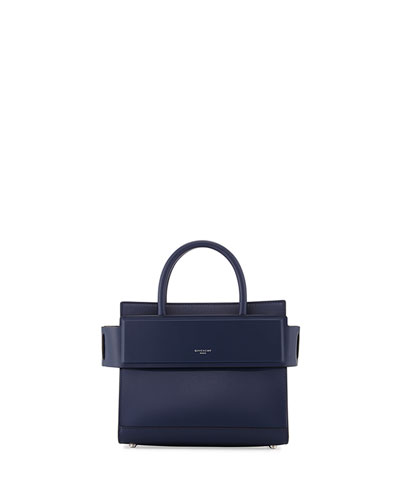 Horizon Mini Leather Satchel Bag, Navy