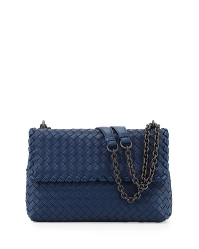 Olimpia Medium Intrecciato Shoulder Bag, Cobalt Blue