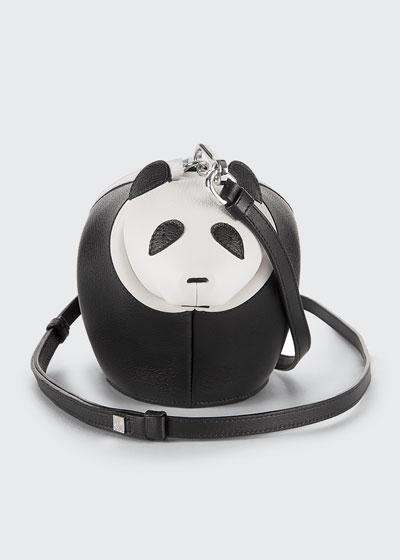 Leather Panda Mini Bag, Black/White