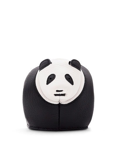 Leather Panda Coin Purse, Black/White