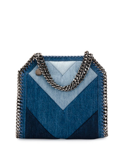 Patchwork Mini Denim Tote Bag, Blue