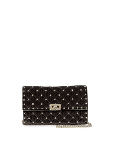 Rockstud Small Matelassé Velvet Wallet-on-Chain, Black
