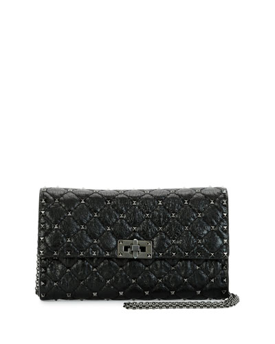 Rockstud Spike Matelasse Leather Shoulder Bag, Black