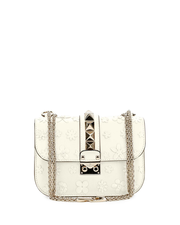 Lock Small Floral Shoulder Bag, Ivory