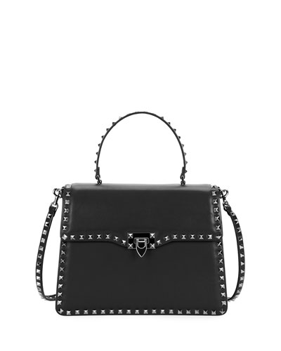 Rockstud Medium Leather Top-Handle Satchel Bag, Black
