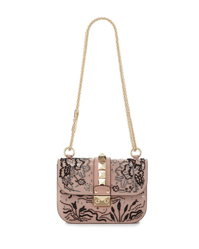 Lock Small Beaded Floral Shoulder Bag, Light Pink