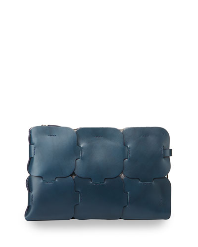Dragon Leather Clutch Bag, Navy
