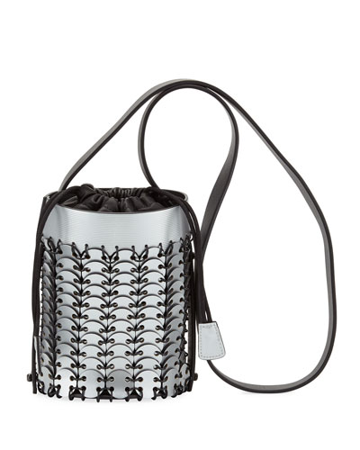 Mini Metallic Leather Bucket Bag, Silver