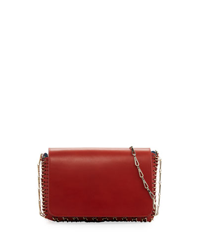 Small Leather Chain Shoulder Bag, Dark Red