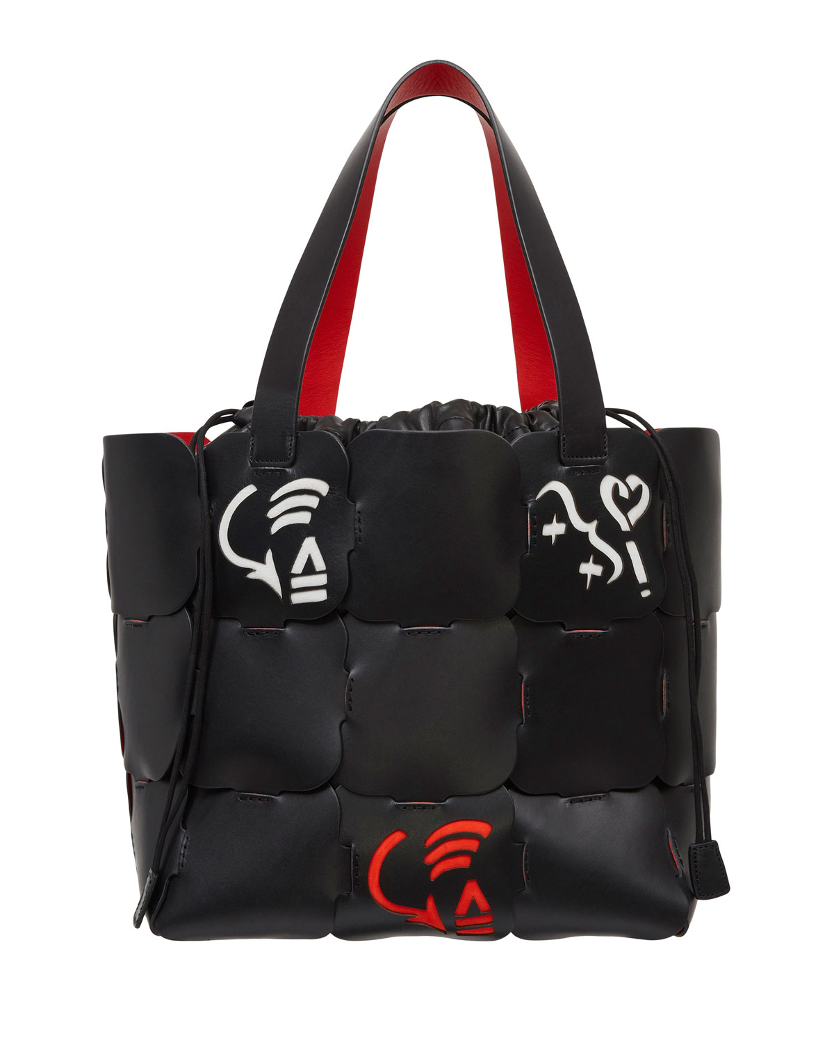 Cabas Painted Leather Tote Bag, Black Pattern