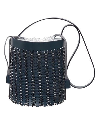 Grommet-Studded Leather Bucket Bag, Navy