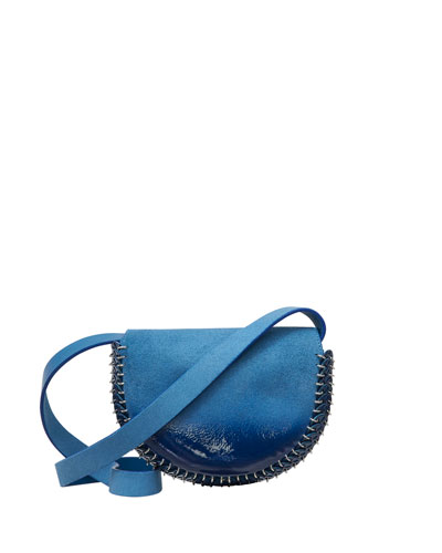 Suede Mini Half Moon Shoulder Bag, Blue