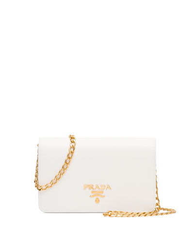 Saffiano Lux Crossbody Bag, White