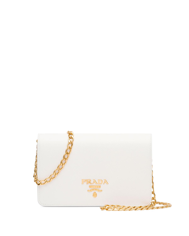 Saffiano Lux Crossbody Bag, White
