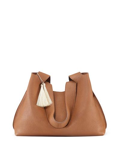 Duplex Calfskin Hobo Bag, Khaki