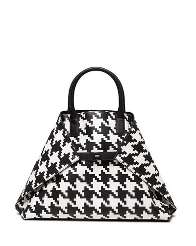 Ai Medium Top-Handle Houndstooth Shoulder Bag