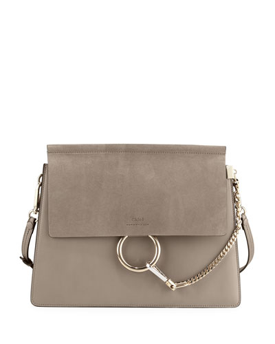 Faye Medium Flap Shoulder Bag, Motty Gray