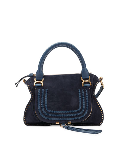 Marcie Medium Suede Satchel Bag, Navy
