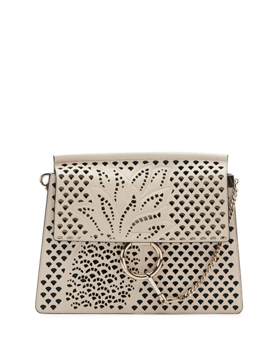 Faye Medium Perforated-Pineapple Shoulder Bag, Abstract White
