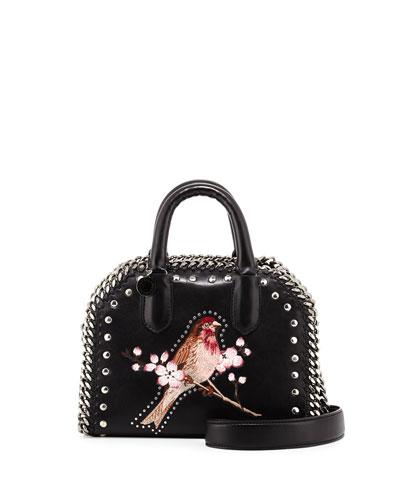 Falabella Bird Embroidered Mini Box Bag, Black
