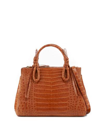 Medium Knots Crocodile Top-Handle Bag